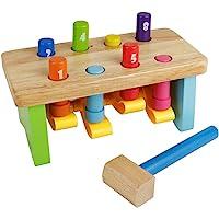 Nuheby BancodaLavoroBambino Martello Giocattolo Giochi in Legno per Bambini Giochi Educativi per Neonato Regalo Ragazzi Ragazze 18+ Mesi,8 Pioli Martello