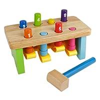Nuheby Martello Legno Giocattolo Martellante Bench Toy Hammer Bench Giocattoli Educativi per Bambini con Mazzuolo Legno Giochi 18 Mesi