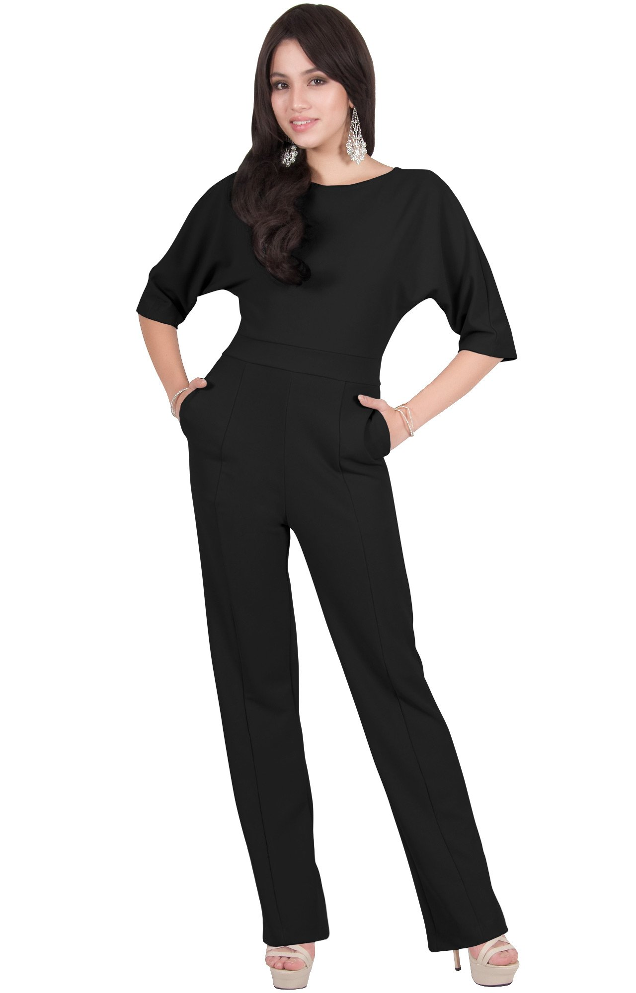 Viris Zamara Womens Long Round Neck Batwing Short Sleeve Sexy Formal Cocktail Casual Long Pants One Piece Pockets Dressy Pant Suit Suits Outfit Playsuit Romper Jumpsuit, Black L 12-14