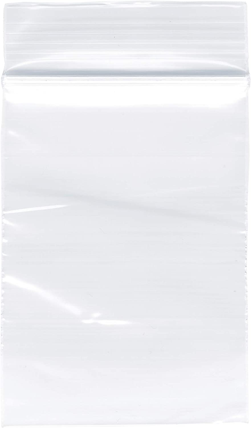 "Plymor Zipper Reclosable Plastic Bags, 2 Mil, 2"" x 3"" (Pack of 100)"