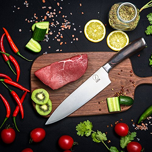 Deik Chef Knife, 8 Inch Kitchen Knife with 1.4116 Imported Stainless Steel, Professional Grade Balance and Super Sharp with Ergnonomic Classy Wooden Handle by Deik (Image #5)