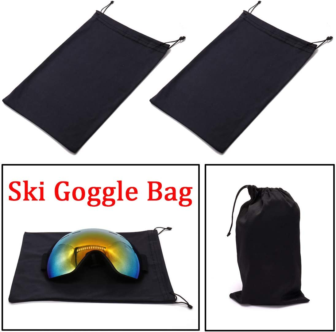 Seapon Ski Goggle Bag, Protection Bags for Snow Goggles Ski Mask, Carrying Pouch for Goggle Replacement Lens Camera Lenses, Soft Micro-Fiber Protective Storage Case Sleeve with Draw String, Pack of 2