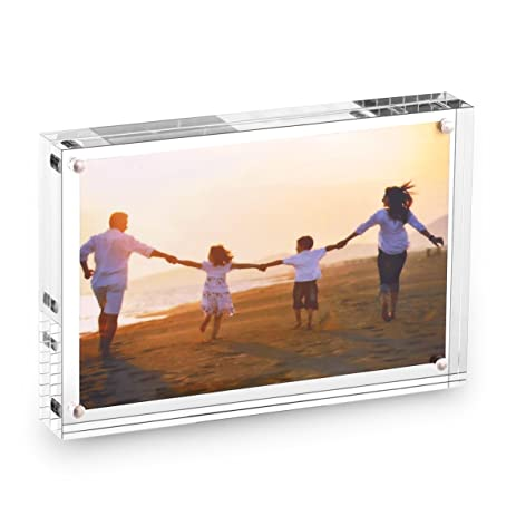 hesin 4 by 6 inch clear acrylic photo frame thickness 24mm stable tabletop magnet frame - Double Sided Picture Frame