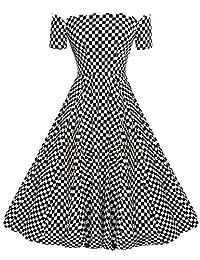 ACEVOG 1950's Short Sleeve Wave Point Retro Vintage Dress with Defined Waist Design
