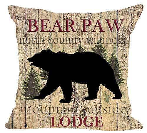 (Wild Animal Black Bear Paws Lodge Forest Tree North Country Wildness Mountain Outside Cotton Linen Square Throw Waist Pillow Case Decorative Cushion Cover Pillowcase Sofa 18