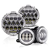 2pcs DOT Approved 7'' Round LED Hi/Lo Beam Headlights Chrome W/ DRL & 2pcs 4'' LED Fog Lamp W/ DRL Halo Ring & Anti-Flicker Harness For 1997-2017 Jeep Wrangler JK JKU TJ LJ Unlimited Hummer H1 H2