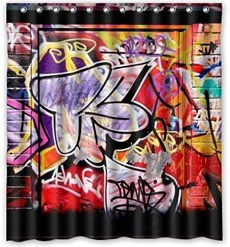 Outlet Seller Custom Graffiti Of Freestyle Waterproof Bathroom Fabric Shower Curtain 66