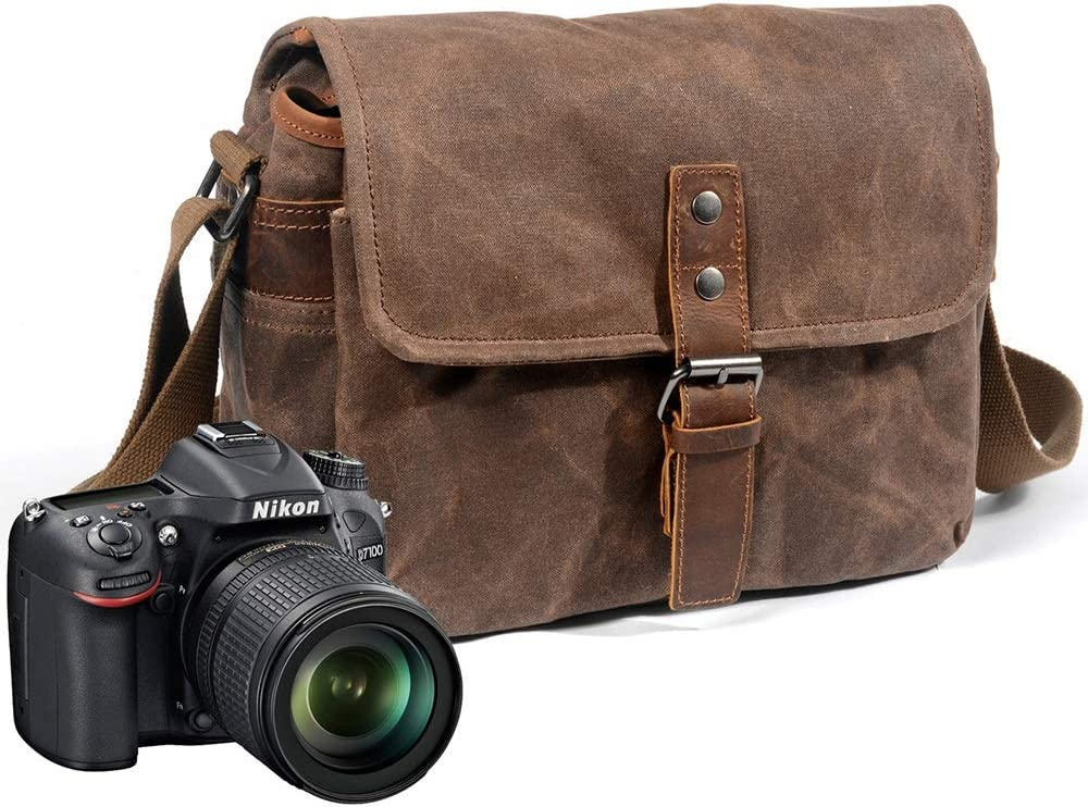 Carrier-Bag Knapsack New Outdoor Camera Bag Digital SLR Professional Waterproof Oil Wax Canvas Camera Bag Micro Shoulder Bag Size 30 Wide 10 High 20cm Brown Handbag