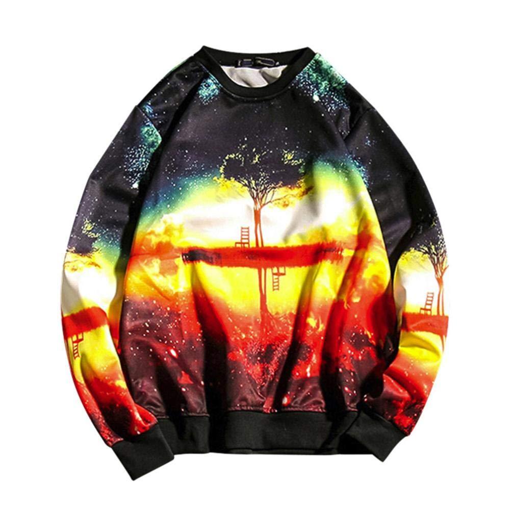 Fiaya Men's Autumn Fashion Style Print Hip Hop Loose Fit Long Sleeve Pullover SweatShirts (5XL, Multicolor)