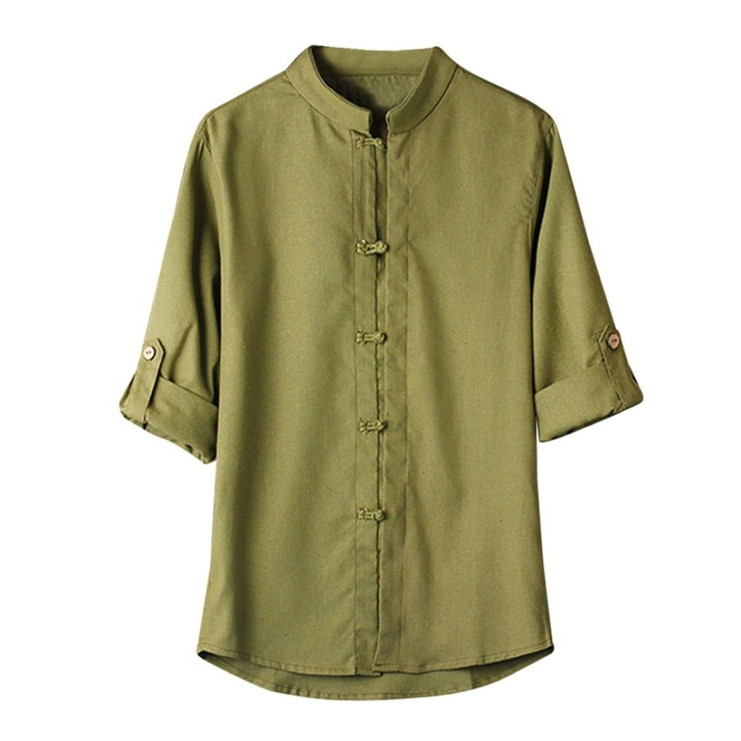 Willsa Mens Shirts, Traditional Chinese Style Kung Fu Shirt 3/4 Sleeve Linen Tang Suit Blouse