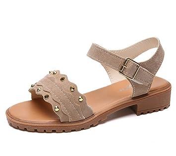 Studded Wild Student verano coreano cómodo mujeres embarazadas zapatos planos, 2,