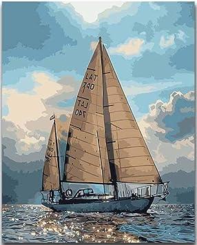 Gvneo Peinture Au Numero Coloriage Diy Bateau Nautique Avec Kits 40x50cm Sans Cadre Amazon Fr Jeux Et Jouets