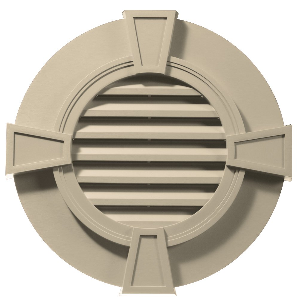 Builders Edge 120033030049 30'' Round Octagon Vent Wide Ring and Keystones 049, Almond