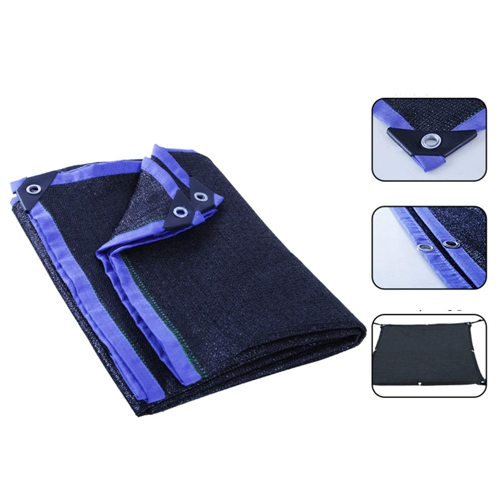 DEWUFAFA 95%正方形の日よけの帆布、屋外の日曜日の避難所、植物カバー、ペット陰カバー、屋外設備および活動のための紫外線ブロックの生地 (Color : Blue edge black net, Size : 8x8m) B07ST3HDC8 Blue edge black net 8x8m