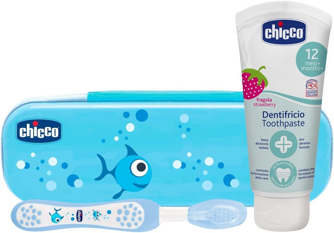 Chicco - Set dental Cepillo de dientes + Pasta Fresa con flúor 12+ m + Neceser Semi rígido, color Azul