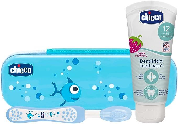 Chicco - Set dental Cepillo de dientes + Pasta Fresa con flúor 12+ m + Neceser Semi rígido, color Azul: Amazon.es: Bebé