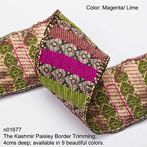 (Neotrims Paisley Ribbon; Antique Old Copper-Gold Metallic Paisleys with Bright Rayon Contrast Blocks of Colour in Twill design. Traditional 9 meters Reel for Sari Border. Also for Salwar Kameez, For Crafts and Home Interior Décor. 4cms Deep Border, Upright Decorative Paisley design in Vintage Ribbon Style. The Kashmir Paisley Design trim. Buy by the 3 meter or 1 reel of 9 meters Sari length. Bargain Price for 1 Reel!)