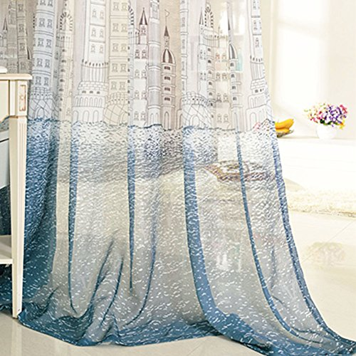 GreatHealt Blue and White Removable Punching Curtains Mediterranean Castle Bedroom Balcony Castle European Casual dustproof Easy to Clean Custom Curtains (Blue Gauze Section)