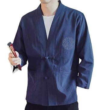 BingSai Kimono Chaqueta de Lino con Frente Abierto Estilo ...