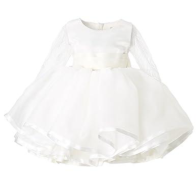 7c9e2b31810 Amazon.com  Hanakimi Lace Illusion Long Sleeve Flower Girls  Dress ...