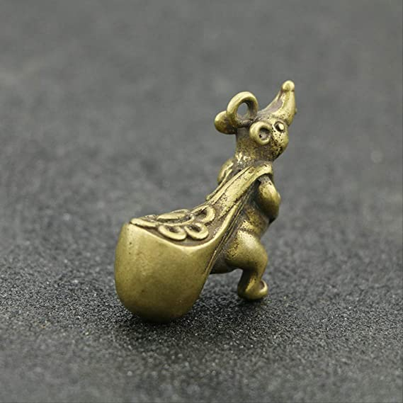 Chinese Old Collectibles pure brass lucky Zodiac mouse pendant NO 36