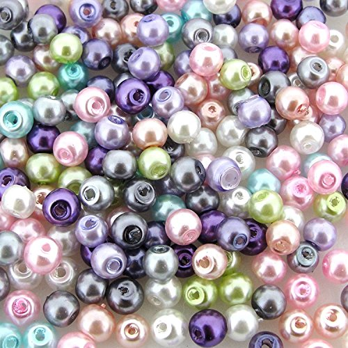 (200pcs Mix Luster Glass Pearls Round 4mm - Spring Mix)