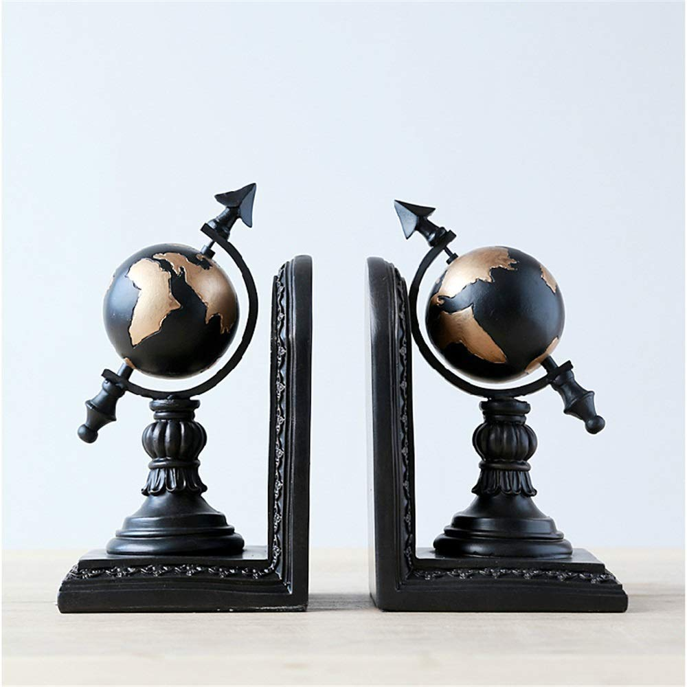 Lumeng Office Bookends A Pair of Decorative Book Ends Supports for Home Desk Decoration Supports for Home Desk Decoration (Color : Black, Size : 210x105x120mm) by Lumeng