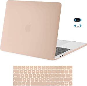 MOSISO MacBook Pro 13 inch Case 2019 2018 2017 2016 Release A2159 A1989 A1706 A1708, Plastic Hard Shell Case & Keyboard Cover Skin & Webcam Cover Compatible with MacBook Pro 13 inch, Camel
