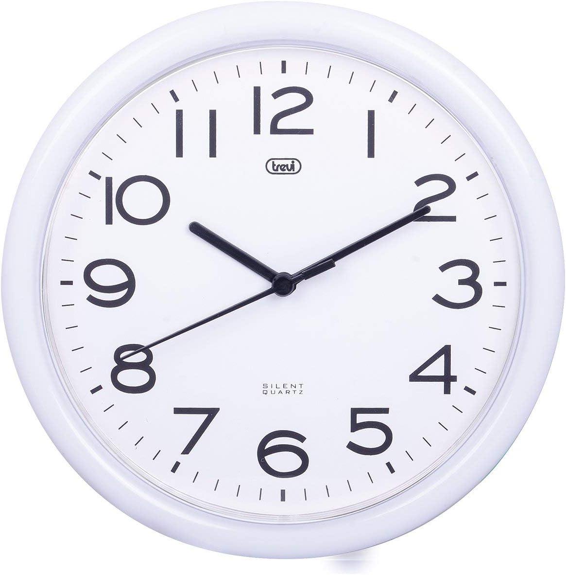 Trevi OM 3301 - Reloj de pared silencioso de 25,5 cm con maquinaria de cuarzo, color blanco