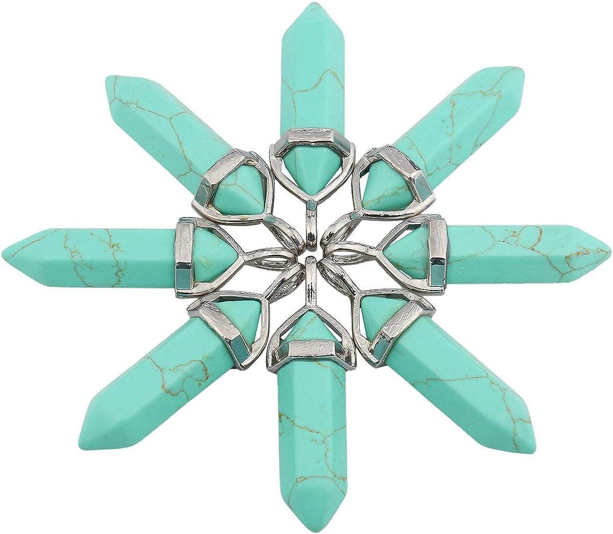 mookaitedecor Collier Hexagonal Pierre Pointe Pendentif Prisme Cristal Pointu Semi Precieuse Gu/érison Protection