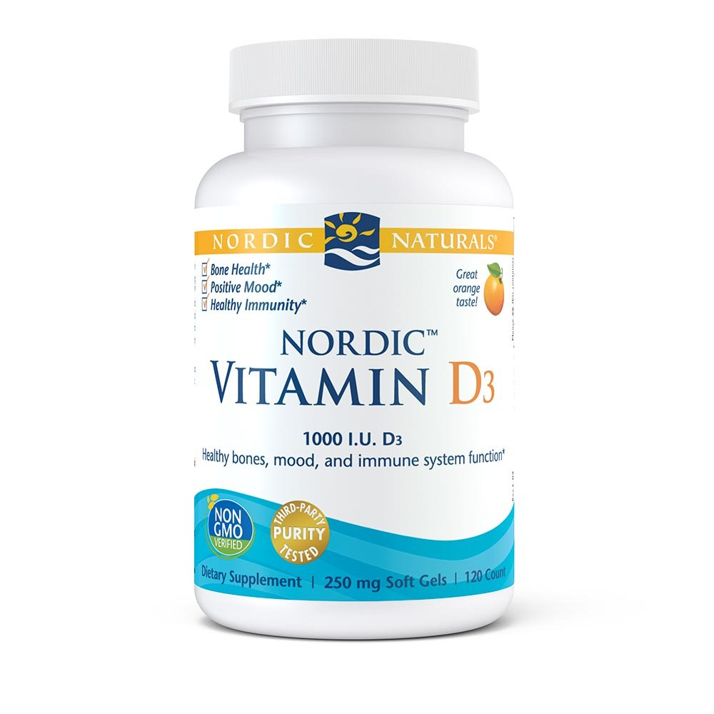 Nordic Naturals Vitamin D3 - Daily Dose of Vitamin D3 For Bone Health, Orange, 120 Soft Gels
