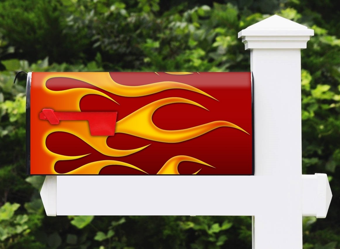 Awesome Mailbox Metal Post Mount and Made in the USA Hotrod Fire Left Design