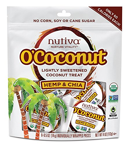 - Nutiva O'Coconut Lightly Sweetened Organic, non-GMO Coconut Treat, Hemp and Chia, 8-piece
