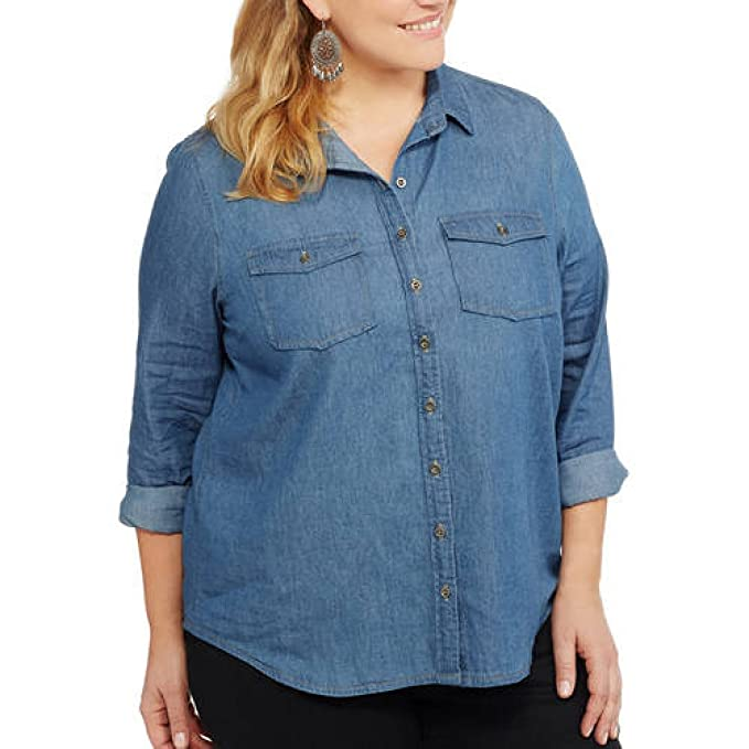 af623ab5 Brooke Leigh Women's Lightweight Denim Chambray Shirt With Roll Tab Sleeves  (Small, Dark Chambra) at Amazon Women's Clothing store: