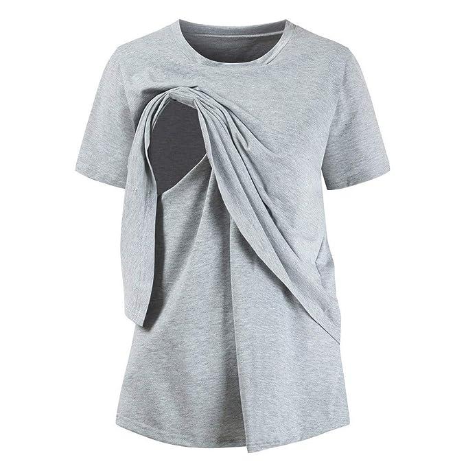 Blusas para Mujeres Embarazadas, ✿ Zolimx Premama Camisa de Manga Corta para Mujer Casual Camiseta Mujer Ropa de Tops Mujer Verano O-Cuello: Amazon.es: ...