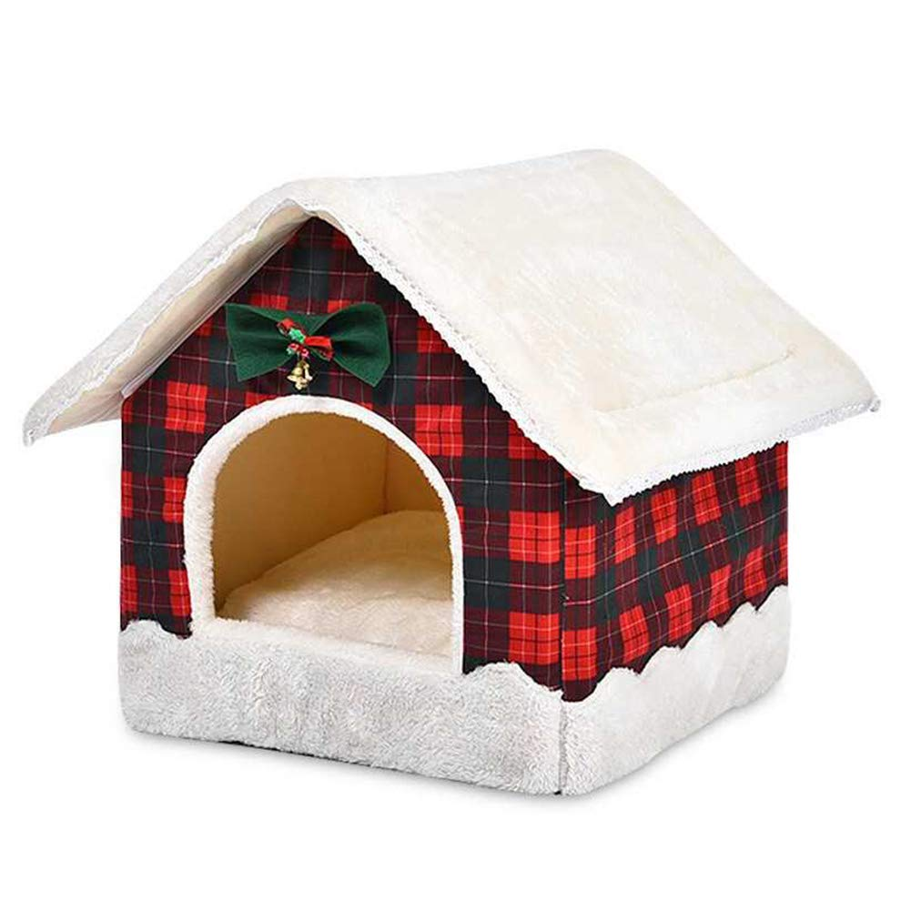 Christmashouse Dog Cat House Bed Soft Fleece Warm Cat Cave Igloo With Cushion Washable,Red For Your Pet
