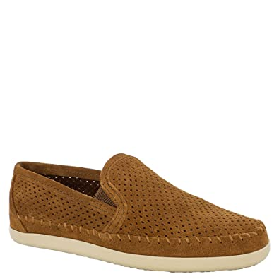 Minnetonka Women's Pacific Perforated Slip on,Stone Suede,US 5.5 M