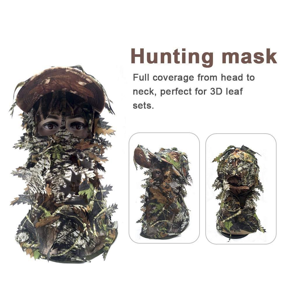 laurelxi Tarnung Gesichtsmaske Ghillie Kapuze 3D Ghillie Maske Outdoor Training Camo Balaclava Sneaky Leaf Gesichtsmaske F/ür Tarnung