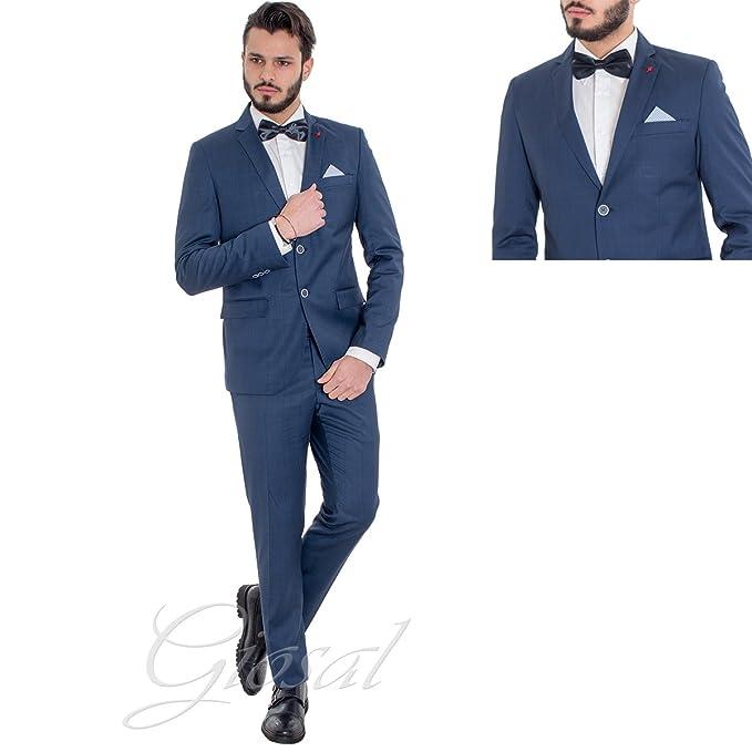 ff49a2dcfac53 Giosal Abito Uomo Elegante Completo Blu Royal Quadretti Scozzese Slim  Giacca Pantaloni AE1019A-44  Amazon.it  Abbigliamento