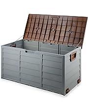 Gardeon Outdoor Storage Lockable Box Brown Weatherproof Garden Deck Toy Shed