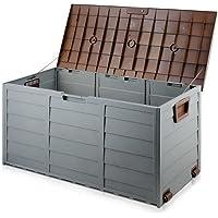 290L Outdoor Storage Lockable Box Brown Weatherproof Garden Deck Toy Shed
