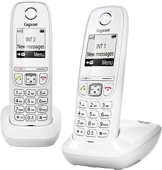 Gigaset AS405A Duo - Juego de teléfonos fijos DECT/GAP (2 terminales), color blanco [Versión Importada]: Amazon.es: Electrónica