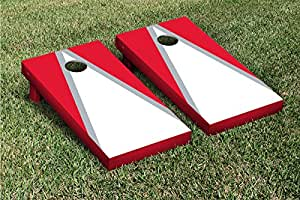 White & Red Triangle Cornhole Boards Game Set (Matching Version 2)