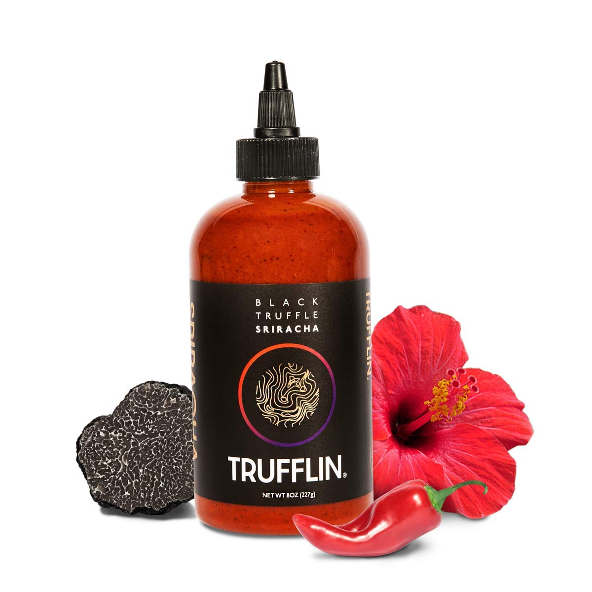 TRUFFLIN Sriracha – Gourmet Black Truffle Hot Sauce with Aged Peppers, Extra Virgin Olive Oil and Garlic with No Sugar Added, Gluten Free, Paleo and Vegan Friendly (8.5oz)