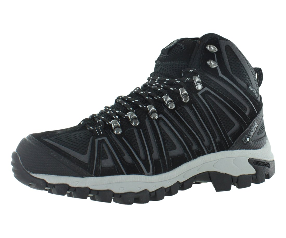 Pacific Mountain Crest Men's Waterproof Hiking Backpacking Mid-Cut Black/Grey Boots Size 13
