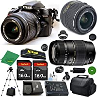 Nikon D3200 International Version - No Warranty, 18-55mm f/3.5-5.6 VR, Tamron 70-300mm DI LD Zoom, 2pcs 16GB ZeeTech Memory, Camera Case