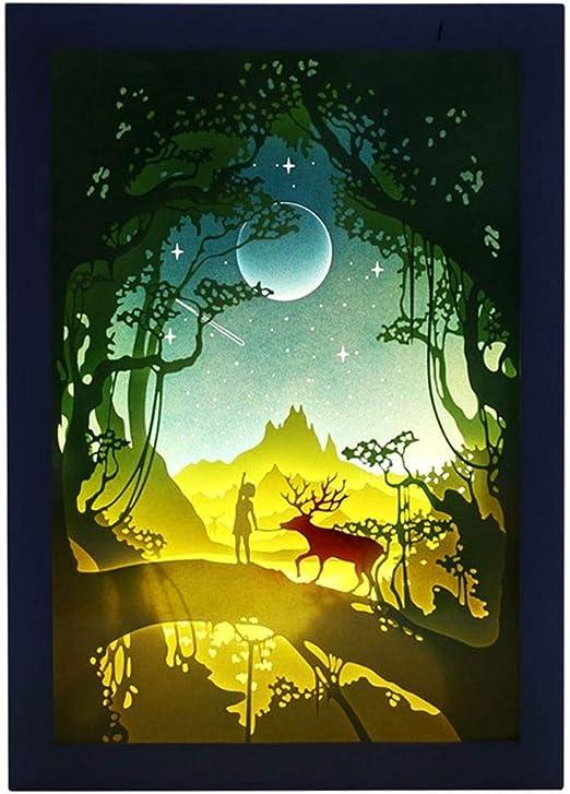 HULUWA Cajas de luz de Papercut, lámpara de Noche de luz de Caja ...