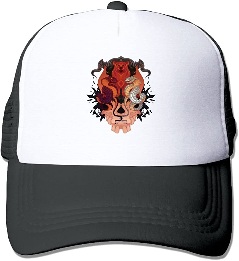 Teesofun Mesh Baseball Caps Skull Bear Snake Art Unisex Adjustable Sports Trucker Cap