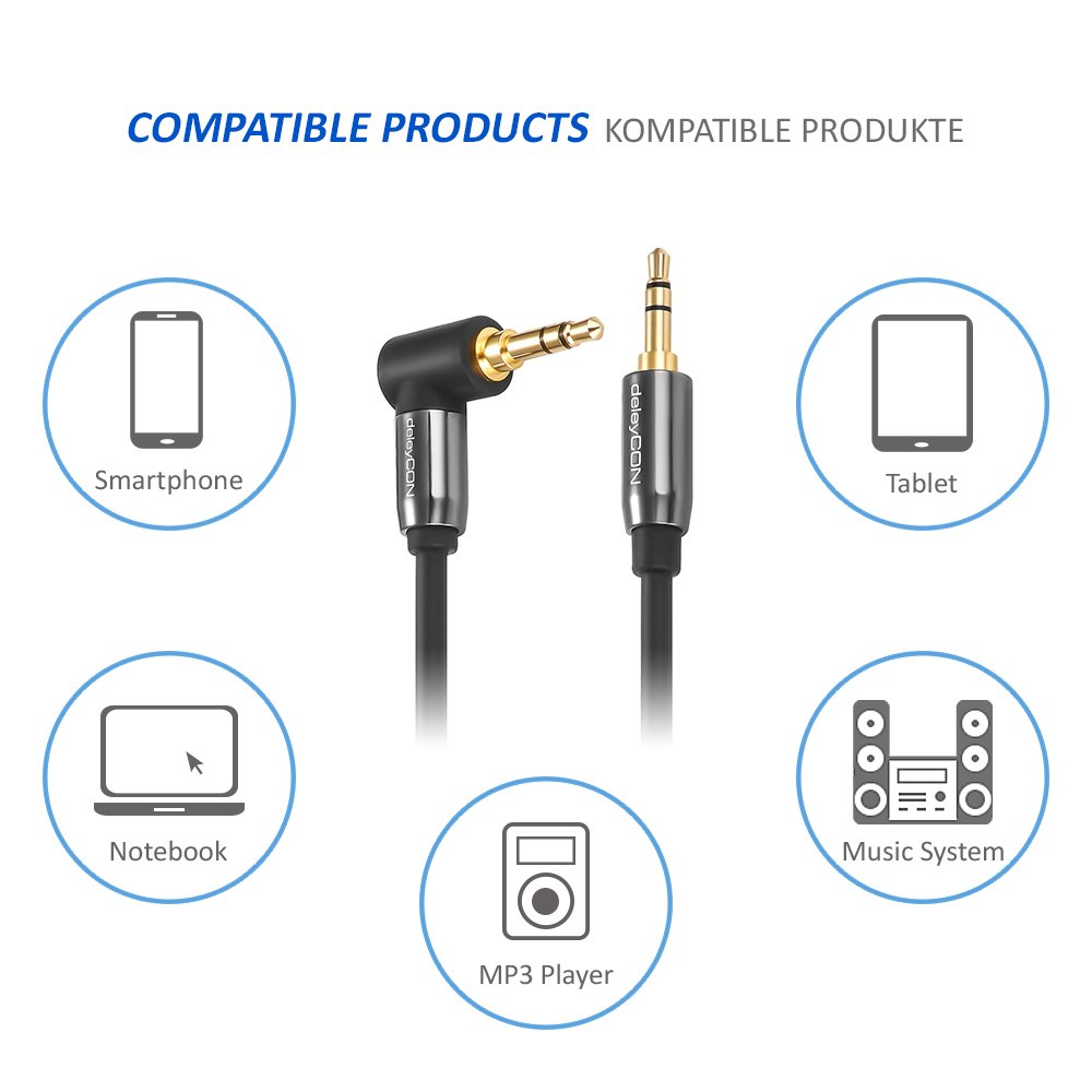 deleyCON 5m Klinkenkabel 3,5mm AUX Kabel Stereo Audio: Amazon.de ...