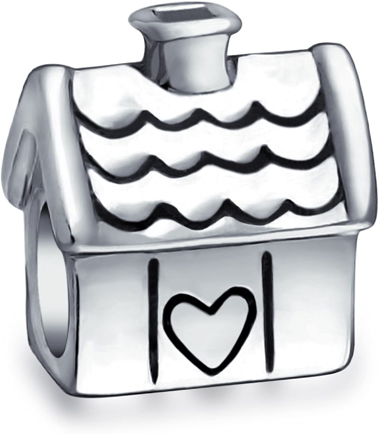 Sweet Home Family House New Home Owner Charm Bead For Women 2 Tone Oxidized 925 Sterling Silver Fits European Bracelet